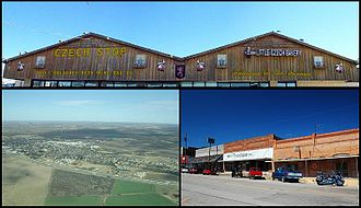 West, Texas - Top: Czech Stop & Little Czech Bakery, Bottom Left: Aerial view of the town of West, Texas — looking northeast, Bottom Right: View from Oak Street