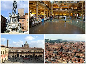 A collage of the city, showing the Fontana del Nettuno, the Public Library Sala Borsa, the Piazza Maggiore and an aerial view of the city.