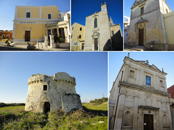 Top left:Maria SS Loreto Church, Top middle:Santa Maria del Popolo Church, Top right:Saint Joseph Church, Bottom left:Torre del Cavallari (Cavallari Tower), Bottom right:Saint Vitus Church