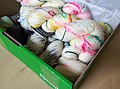 Colourful hand dyed wool in a box.jpg