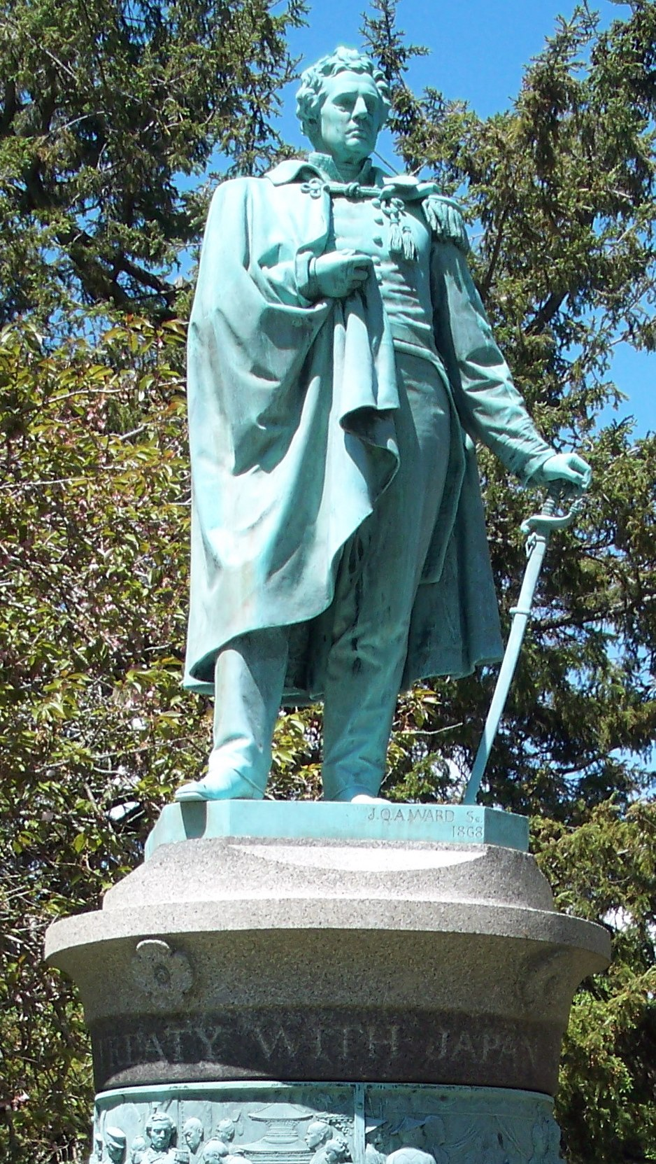 Commodore Matthew Perry Statue in Touro Park, Newport, RI