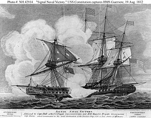 Isaac Hull - Battle between USS Constitution and the HMS Guerriere19 August 19, 1812