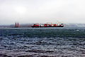 Container ship entering San Francisco Bay from the Pacific off Kirby Cove Beach.jpg