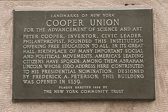 """Cooper Union financial crisis and tuition protests - Located on the northwest corner of the Cooper Union Foundation Building at 7 E 7th Street, this plaque is a historical landmark that notes that Cooper Union provides """"free education to all"""""""