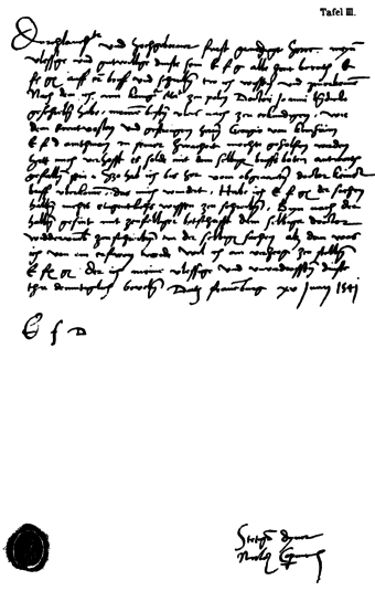 German-language letter from Copernicus to Duke Albert of Prussia, giving medical advice for George von Kunheim (1541) Copernicus-an-Herzog-Albrecht.png