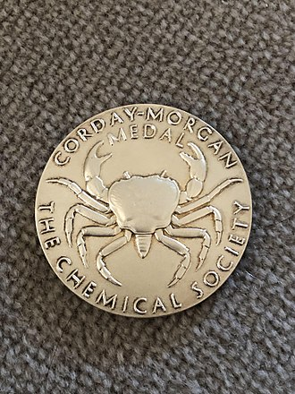 Corday-Morgan Prize - The obverse of a Corday Morgan medal awarded in the early 2000s. The crab on the medal is a reference to Morgan's work on the chelate effect