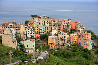 human settlement in Vernazza, Province of La Spezia, Liguria, Italy