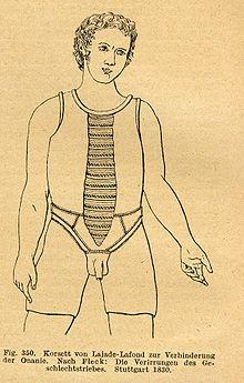 Un corsetto per impedire pratiche onaniste (disegno contenuto in un testo pubblicato a Stoccarda nel 1830)