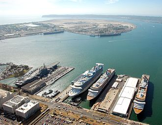 Port of San Diego - Aerial view of the Port of San Diego, showing three cruise ships and the USS Midway Museum