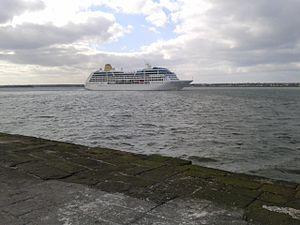Ringsend - Cruise liner leaving the Dublin port.