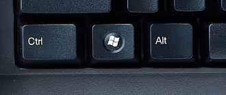 Windows key - The Windows key, for Windows Vista (center), the circle around the logo appeared with Windows Vista.