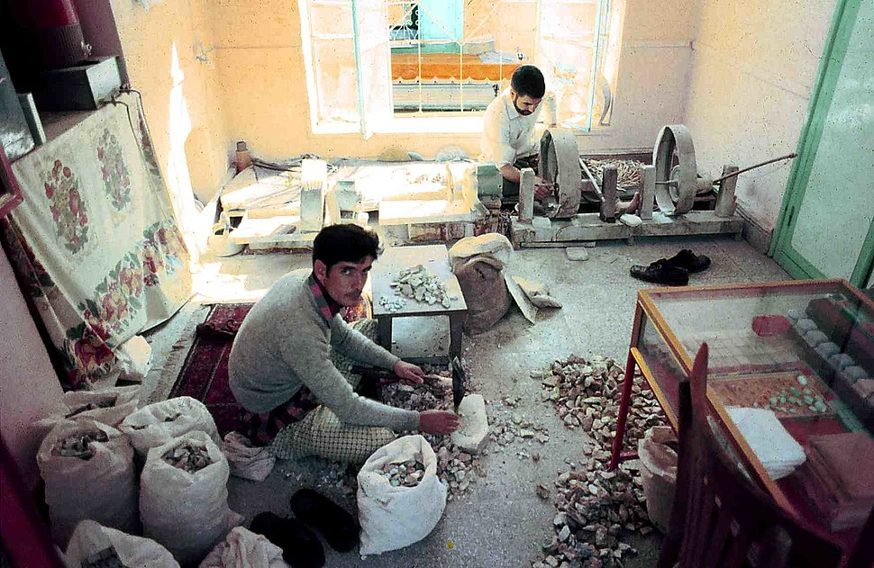 Cutting and grinding turquoise in Meshed, Iran. 1973