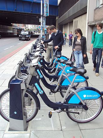 Cycling in London - Barclays Cycle Hire docking station in Southwark Street