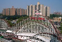 The Cyclone, with high-rise apartment buildings in the background