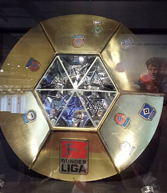 DFL-Ligapokal - Trophy of the German League Cup, shown in the FC Bayern Erlebniswelt Museum