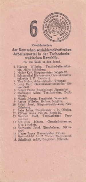Elections in the First Czechoslovak Republic - List of DSAP candidates for the Senate in the VII. Moravská Ostrava electoral district, stamped by the District Election Commission