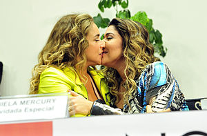 Daniela Mercury - Mercury and her wife Malu Verçosa participating in a seminar LGBT in the Chamber of Deputies in Brasilia.