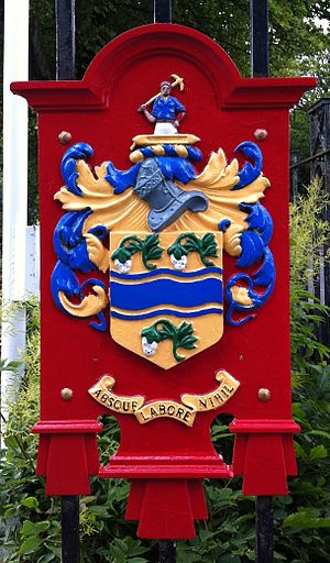 Darwen - Coat of arms of Darwen as depicted on the main gates of Bold Venture Park