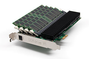 Solid-state drive - A PCI-Express-, DRAM- and NAND-based SSD that uses an external power supply to effectively make the DRAM non-volatile