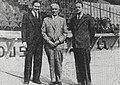 De G. à D. Maurice Goddet, Henri Desgrange et Jacques Goddet, pour l'inauguration du nouveau Parc des Princes le 22 avril 1932.jpg