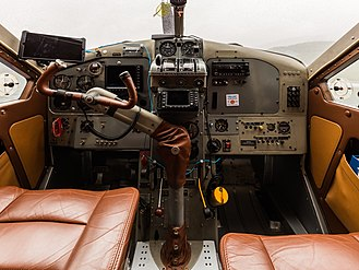 De Havilland Canada DHC-2 Beaver - Instrument panel of a DHC-2 – note the single pilot's yoke, that can be handed over to the co-pilot, in flight.