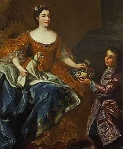 Deatil of Auguste of Baden-Baden, Duchess of Orléans wife of Louis d'Orléans as depicted in 1725 by Belle held at Rastatt.jpg