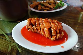 Sweet and sour - Deep fried fish in a sweet and sour sauce