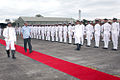 Defence Minister Manohar Parikkar inspecting a guard of honour during a visit to INS Hansa in 2014.JPG