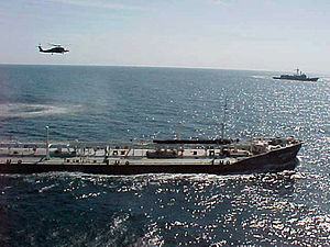 Sanctions against Iraq - An American helicopter shadows the Russian oil tanker Volgoneft-147