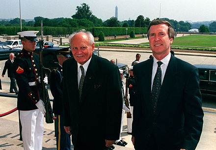 Arpad Goncz with U.S. Secretary of Defense William Cohen in June 1999 Defense.gov News Photo 990607-D-9880W-005.jpg