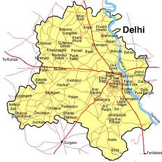 Najafgarh - Map of Delhi, showing location of Najafgarh