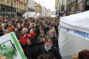Národní (Prague) - Národní street is a place where commemorative events and demonstrations associated with Velvet revolution are often. Image from demonstration against Miloš Zeman during 25th anniversary of Velvet revolution