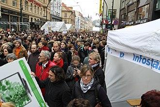 Národní (Prague) - Národní street is a place where commemorative events and demonstrations associated with Velvet revolution are often. Image from demonstration against Miloš Zeman during 25th anniversary of Velvet revolution