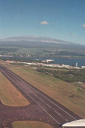 Hilo International Airport - 1990 view of ITO with Mauna Kea in the background