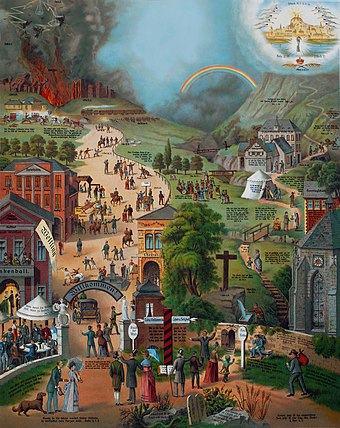 The Broad and the Narrow Way, a popular German Pietist painting, 1866 Der breite und der schmale Weg 2008.jpg
