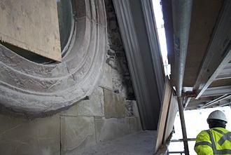 Halifax City Hall - Close up of stonework restoration, January 2013