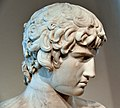 Detail of the bust of Antinous. Marble, 130-140 CE. From Rome, Italy, acquired before 1772 CE. Altes Museum, Berlin, Germany.jpg
