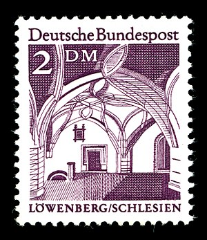 Lwówek Śląski - This Deutsche Bundespost stamp shows Lwówek Śląski's town hall interior