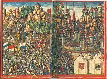 Depiction of the Battle of Arbedo in the Lucerne Chronicle