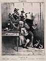 Devils besiege a man's head; symbolising headache. Lithograp Wellcome V0011747.jpg