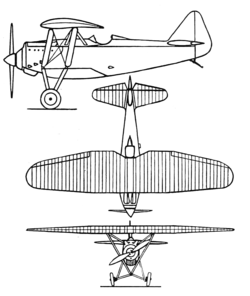 Dewoitine D.27 3-view Aero Digest July,1930.png