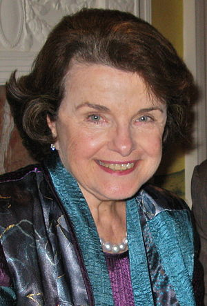 Feinstein in 2010, as she hosted an event at her home attended by five members of the U.S. Senate Dianne Feinstein 2010.jpg
