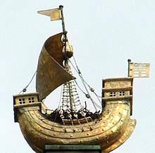 a model of a 14th-century merchant ship, or cog converted for warfare