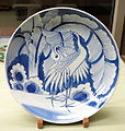 Dish with pair of cranes and banana tree design, Imari ware, Edo period, 19th century, underglaze blue - Tokyo National Museum - DSC06051.JPG