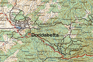 Doddabetta - Detailed map of surrounding area