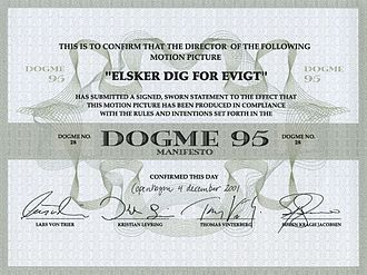 Festen - Dogme 95 certificate of authenticity.