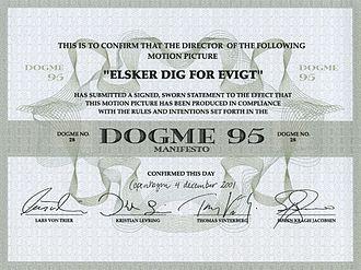 Lars von Trier - Dogme 95 Certificate for Susanne Bier's film Open Hearts