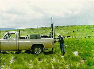 Geotechnical investigation - A USBR soil scientist advances a Giddings Probe direct push soil sampler.