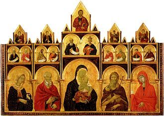 Mariology of the saints - Madonna and Child with saints by Duccio, 14th century