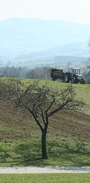 Spreading manure, an organic fertilizer